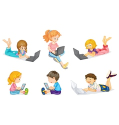 Laptops and kids vector