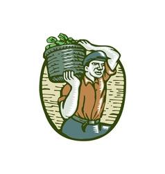 Organic farmer basket crop woodcut linocut vector