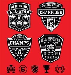 Athletic patch emblems vector