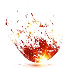 Red abstract meteorite explode vector