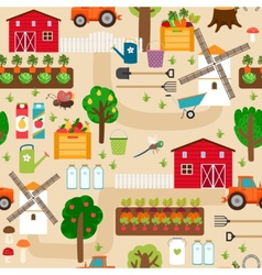 Farm seamless pattern with tractor and beds apple vector