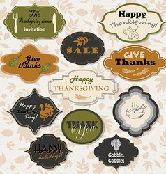 Set of isolated thanksgiving frames and labels vector