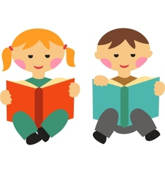 Boy and girl reading books vector