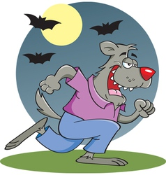 Cartoon running werewolf vector