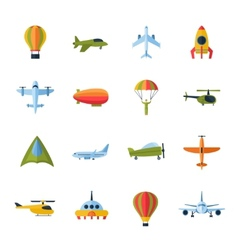 Aircraft icons set flat vector