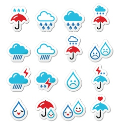 Rain thunderstorm heavy clouds icons set vector