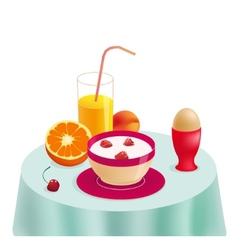 Healthy breakfast on the table vector