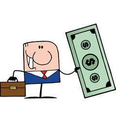 Businessman holding cash vector