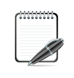 Pen and notepad icon vector