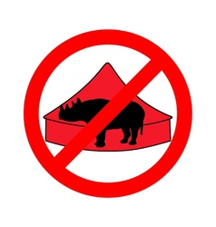 Black rhino in circus prohibited vector
