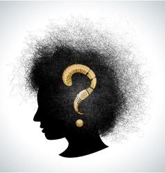 Retro girl silhouette with headdress vector