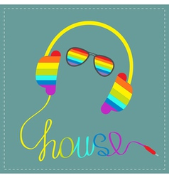 Rainbow headphones and glasses word house vector