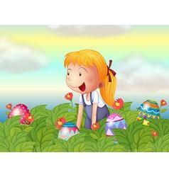 A girl seeing eggs in the garden vector