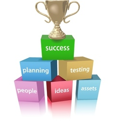 Business model win success trophy vector