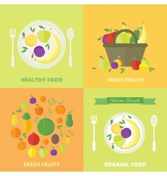 Banners card with fresh fruits and berries vector