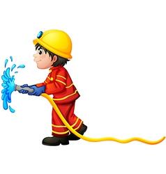 A fireman holding a water hose vector