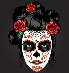 Day of the dead girl make up vector