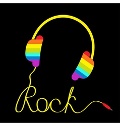 Rainbow headphone word rock black vector