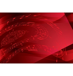 Bright red background with music notes vector