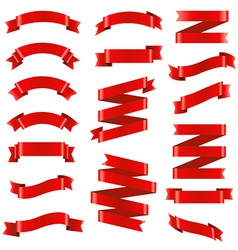 Red ribbon big set vector