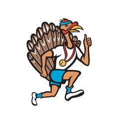 Turkey run runner thumb up cartoon vector