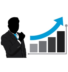 Business man and graph growth vector