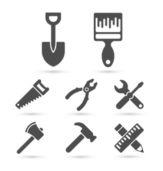 Working tool icons on white elements vector