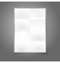 Blank white realistic folded poster with place for vector