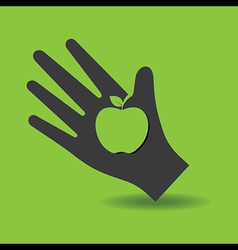 Human hand with apple symbol concept vector