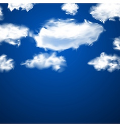 White fluffy clouds over blue vector