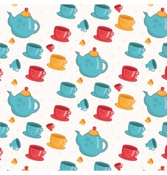 Seamless pattern of cupsteapot vector