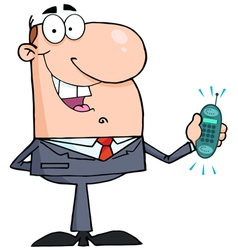 Happy businessman with phone ringing vector