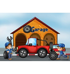 Two boys working at the garage vector