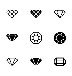 Black diamond icon set vector