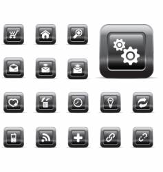 Glossy buttons  black chrome vector