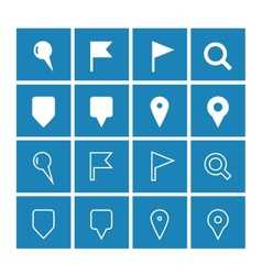Gps and navigation icons on blue background vector