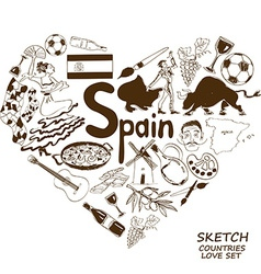 Spanish symbols in heart shape concept vector