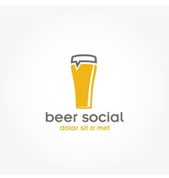 Beer glass pub design template vector