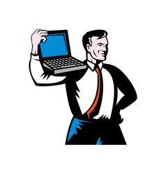 Man carrying computer notebook laptop vector
