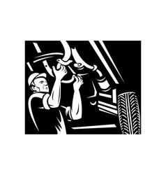 Car mechanic repairing working on auto vehicle vector