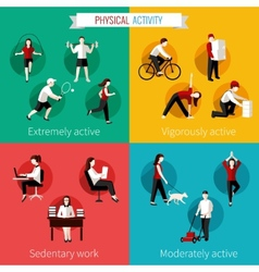 Physical activity flat set vector