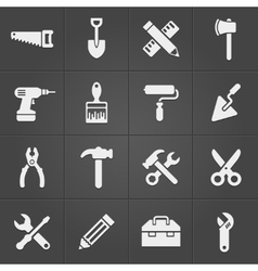 Working instrument tool icons on black vector