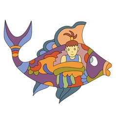 Fish girl vector