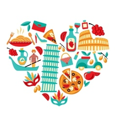 Italy icons heart vector