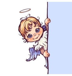Cute angel with panel for vector