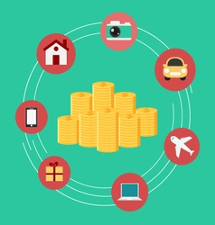 Set icons shopping money concept vector