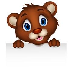 Cute little brown bear cartoon with blank sign vector