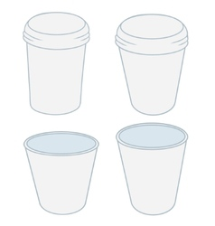 Paper cups in the projector on a white background vector