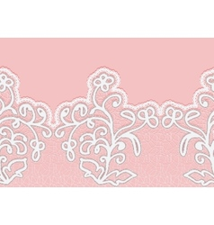 Seamless horizontal lace border with flowers vector