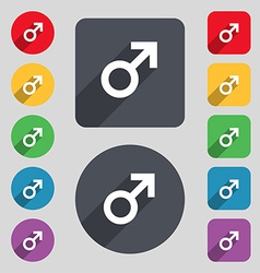 Male sex icon sign a set of 12 colored buttons and vector